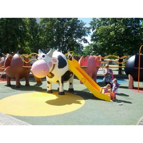 """Structure de jeux """"la vache avec toboggan et filet à grimper"""""""