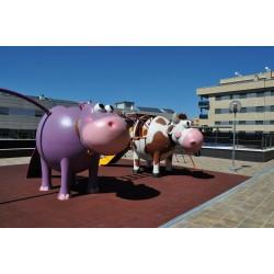 """Structure de jeux """"l'hippopotame et le toboggan avec mât de pompier"""""""