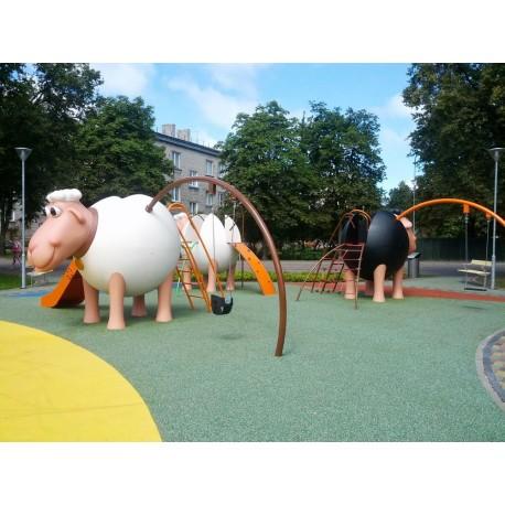 """Structure de jeux """"le mouton blanc et son portique-balançoire"""""""