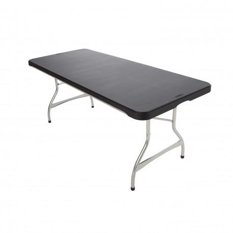 Table polypropylène noire professionnelle rectangulaire 183 cm